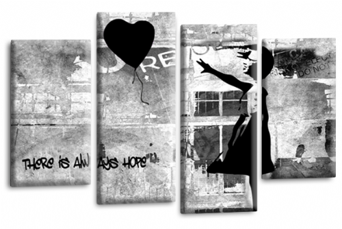 Banksy Wall Art Canvas Black Balloon Girl Picture Love Peace Multi Panel
